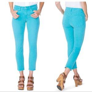 Nydj Sheri ankle water gray hem jeans size 6